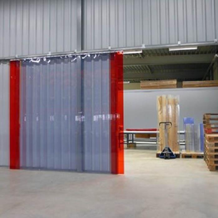 Verschiebarer Industrie-Streifenvorhang aus PVC-Lamellen für Hallen